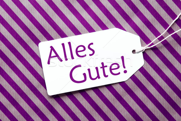 Label On Purple Wrapping Paper, Alles Gute Means Best Wishes Stock photo © Nelosa