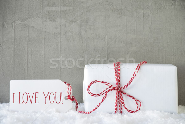 One Gift, Urban Cement Background, Text I Love You Stock photo © Nelosa