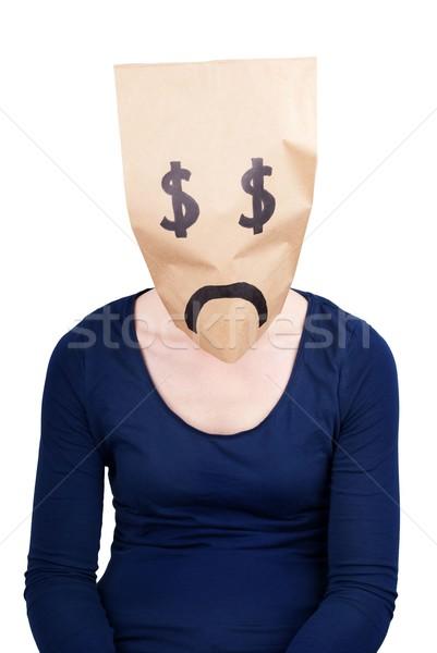 Zdesperowany Dolar torby papierowe znak dolara głowie odizolowany Zdjęcia stock © Nelosa