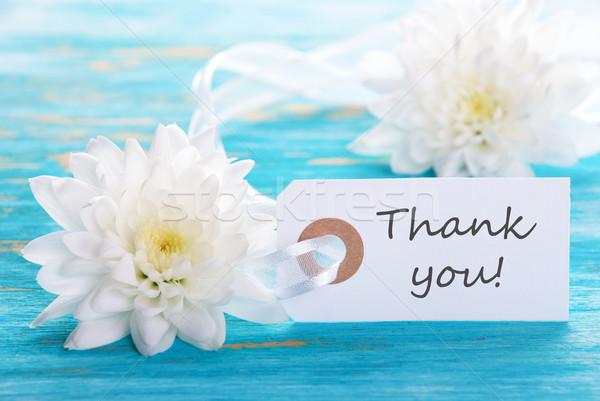 Obrigado membro turquesa flores brancas etiqueta flores Foto stock © Nelosa