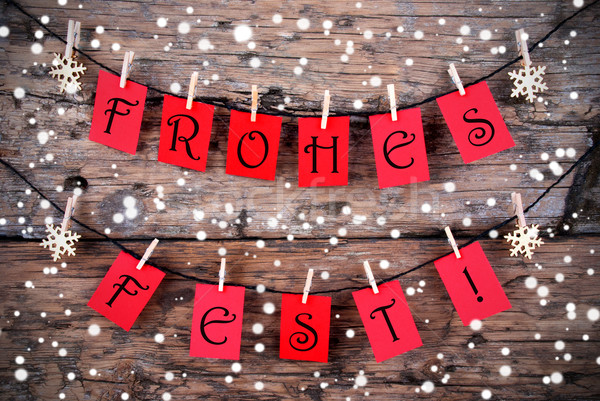 Snowy Christmas Background with the Words Frohes Fest Stock photo © Nelosa