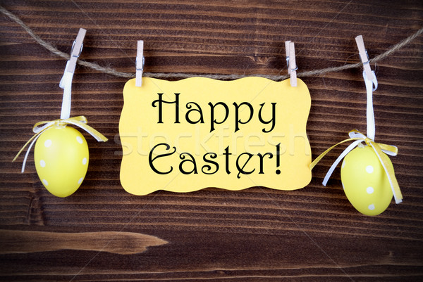 Yellow Label With Two Easter Eggs And Happy Easter Stock photo © Nelosa