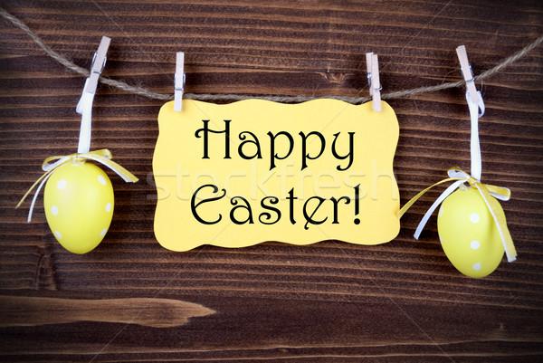 Giallo etichetta due easter eggs buona pasqua Pasqua Foto d'archivio © Nelosa
