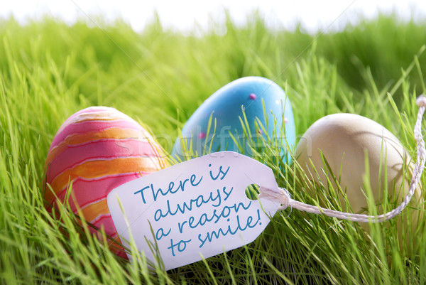 Happy Easter Background With Colorful Eggs And Label With Life Quote Stock photo © Nelosa