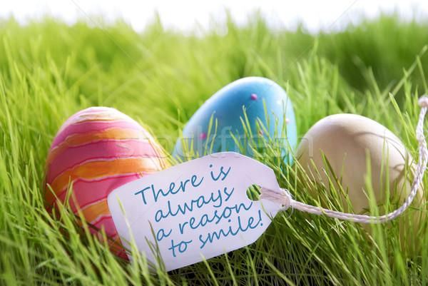 Kellemes húsvétot színes tojások címke élet idézet Stock fotó © Nelosa