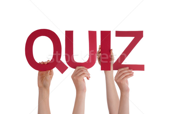 Many People Hands Holding Red Straight Word Quiz Stock photo © Nelosa