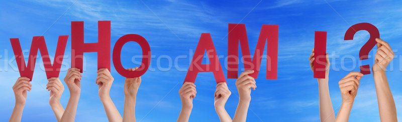 People Hands Holding Red Word Who Am I Blue Sky Stock photo © Nelosa