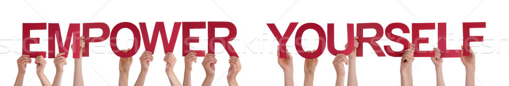 Hands Holding Red Straight Word Empower Yourself Stock photo © Nelosa