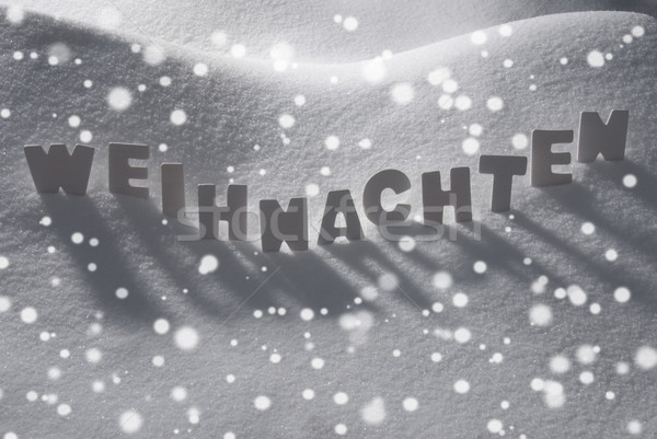 White Word Weihnachten Means Christmas On Snow, Snowflakes Stock photo © Nelosa