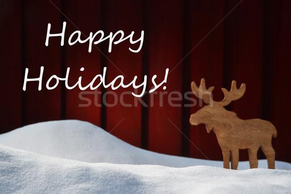 Gelukkig vakantie sneeuw eland witte Stockfoto © Nelosa