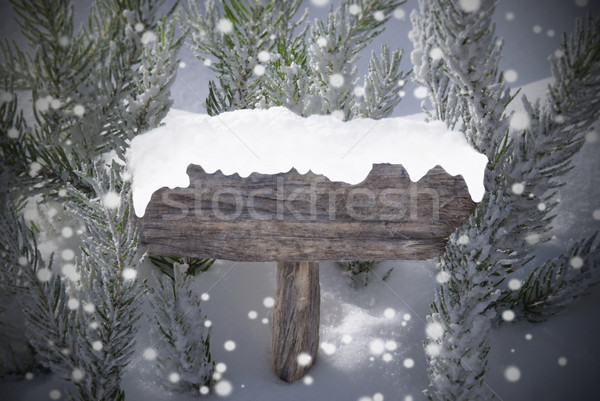 Christmas Sign Snowflakes Fir Tree Copy Space Stock photo © Nelosa