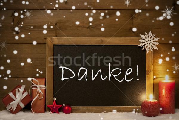 Christmas Card, Blackboard, Snowflakes, Danke Mean Thank You Stock photo © Nelosa