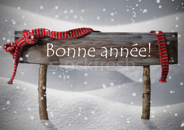 Stock photo: Christmas Sign Bonne Annee Means New Year, Snowflakes, Snow
