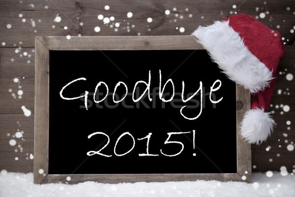 Szürke karácsonyi üdvözlet iskolatábla viszlát 2015 hó Stock fotó © Nelosa
