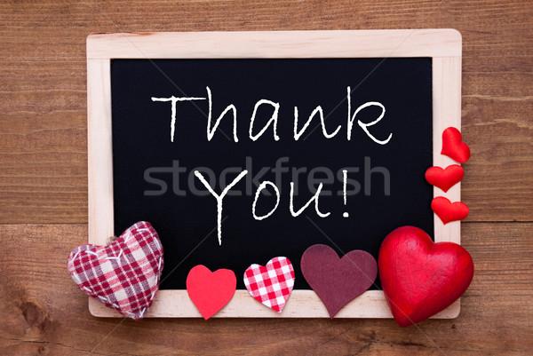 Iskolatábla textil szívek szöveg köszönjük angol Stock fotó © Nelosa