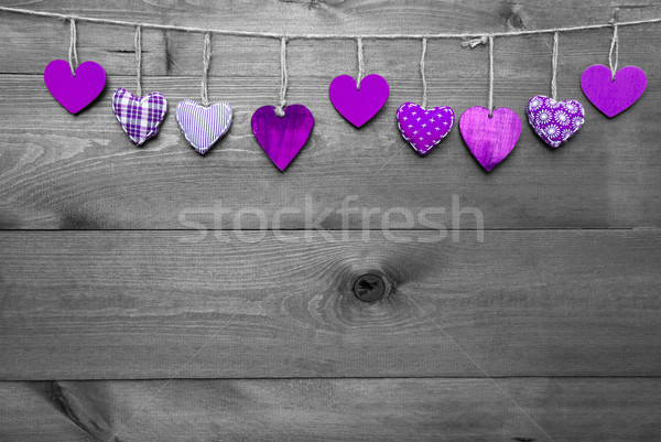Loving Greeting Card With Purple Hearts, Copy Space Stock photo © Nelosa