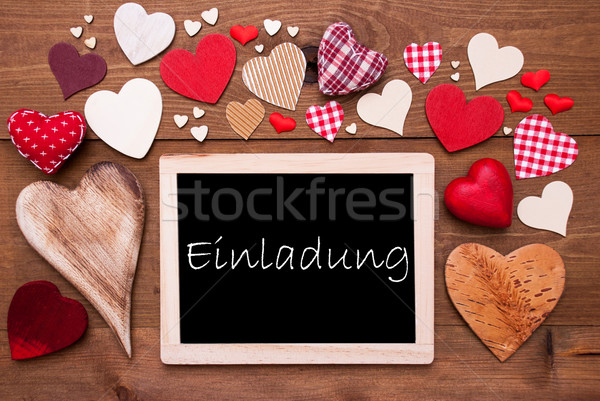 Stock photo: One Chalkbord, Many Red Hearts, Einladung Means Invitation