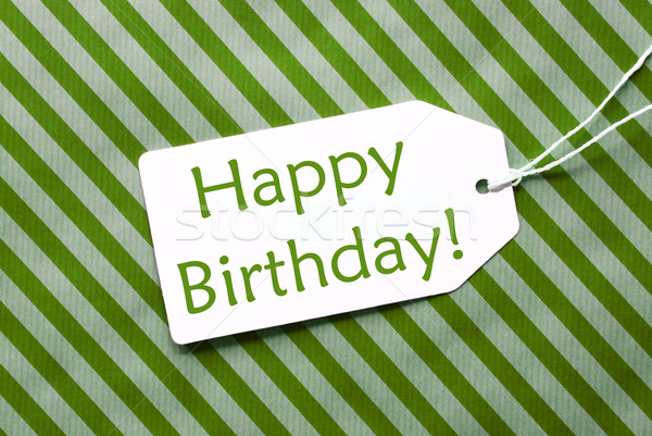 Label On Green Wrapping Paper, Text Happy Birthday Stock photo © Nelosa