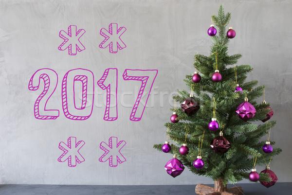 Christmas Tree, Cement Wall, Text 2017 Stock photo © Nelosa
