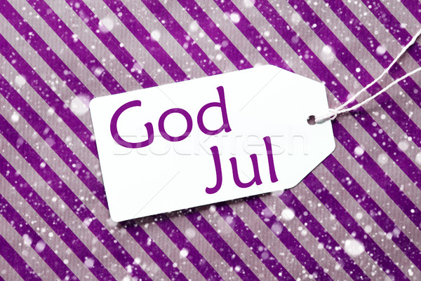 Label On Purple Paper, Snowflakes, God Jul Means Merry Christmas Stock photo © Nelosa