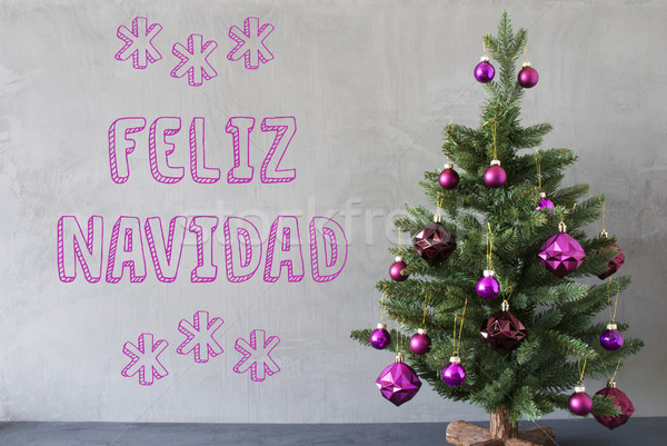 Tree, Cement Wall, Text Feliz Navidad Means Merry Christmas Stock photo © Nelosa