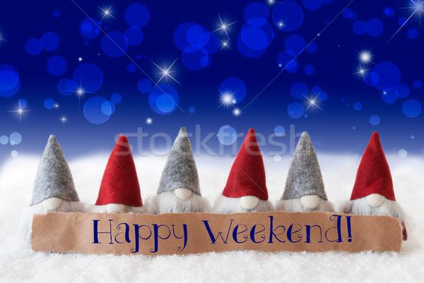 Gnomes, Blue Background, Bokeh, Stars, Text Happy Weekend Stock photo © Nelosa