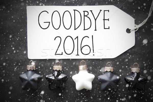 Fekete karácsony golyók hópelyhek szöveg viszlát Stock fotó © Nelosa