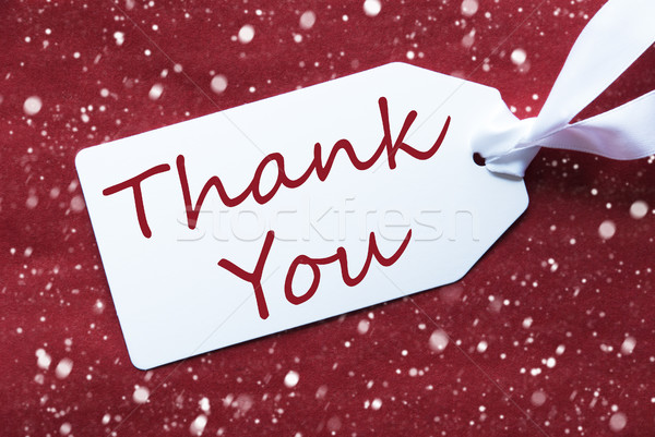 One Label On Red Background, Snowflakes, Text Thank You Stock photo © Nelosa