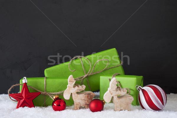 Rosso verde Natale decorazione neve nero Foto d'archivio © Nelosa