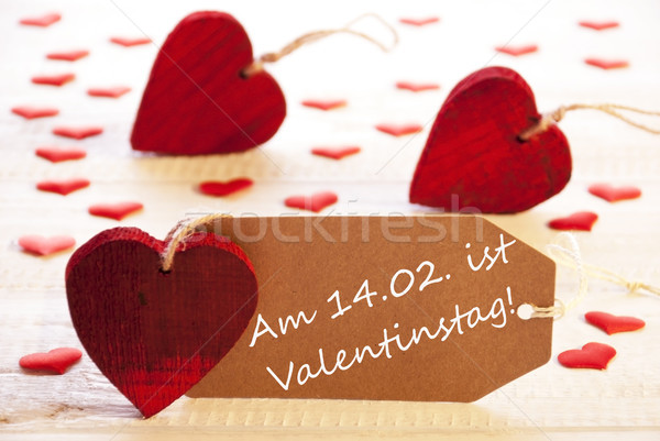 Label With Many Red Heart, Valentinstag Means Valentines Day Stock photo © Nelosa