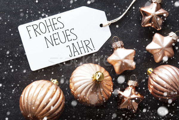 Bronze Christmas Balls, Snowflakes, Frohes Neues Means Happy New Year Stock photo © Nelosa
