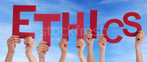 Ethik Himmel Hände halten Wort Hand Stock foto © Nelosa