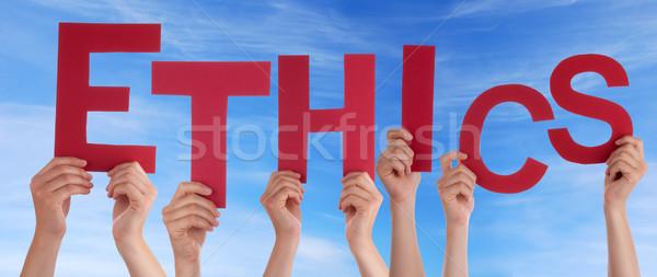 Ethiek hemel handen woord hand Stockfoto © Nelosa