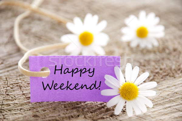 Paars label gelukkig weekend witte bloemen hout Stockfoto © Nelosa