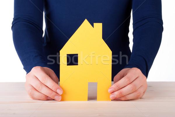 Mujer casa aislado blanco manos Foto stock © Nelosa