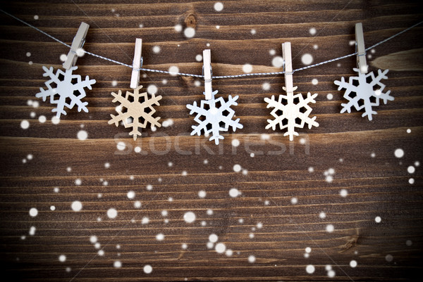 Kar taneleri hat kar altın gümüş asılı Stok fotoğraf © Nelosa