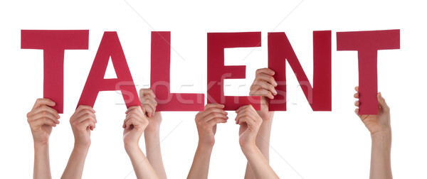 Many People Hands Holding Red Straight Word Talent Stock photo © Nelosa