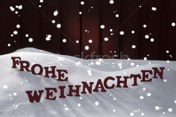Frohe Weihnachten Means Merry Christmas Snowflakes Stock photo © Nelosa
