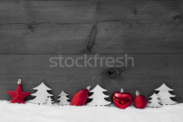 Red, Gray Christmas Decoration, Snow, Copy Space, Ball, Tree Stock photo © Nelosa