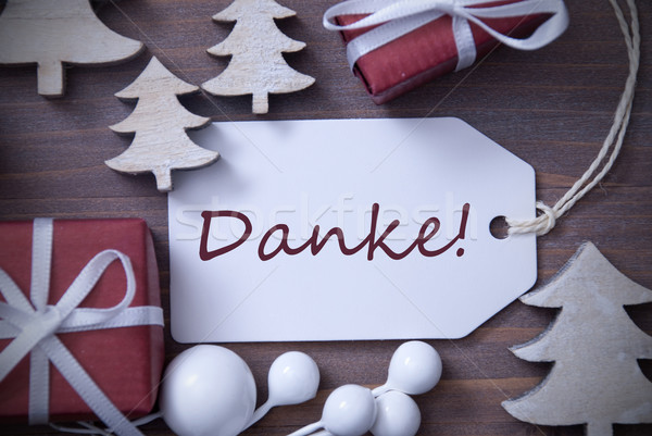 Christmas Label Gift Tree Danke Means Thank You Stock photo © Nelosa