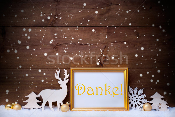 Stock photo: White And Golden Christmas Card, Snowflake, Danke Mean Thank You