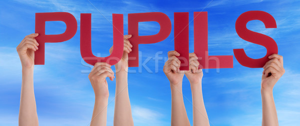 Many People Hands Holding Red Straight Word Pupils Blue Sky Stock photo © Nelosa