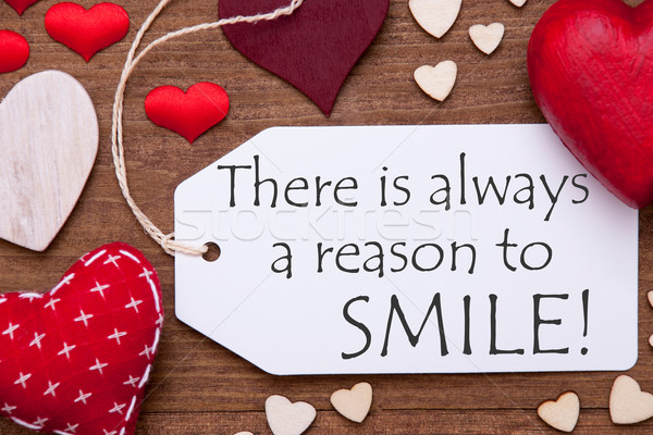 One Label, Red Hearts, Always Reason To Smile, Macro Stock photo © Nelosa