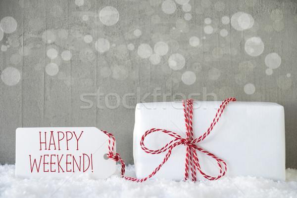 Dom cimento bokeh texto feliz fim de semana Foto stock © Nelosa