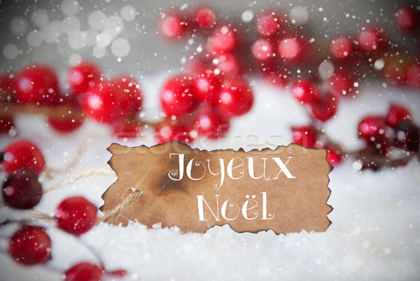 Burnt Label, Snow, Snowflakes, Joyeux Noel Means Merry Christmas Stock photo © Nelosa