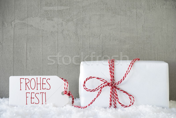 One Gift, Urban Cement Background, Frohes Fest Means Merry Christmas Stock photo © Nelosa