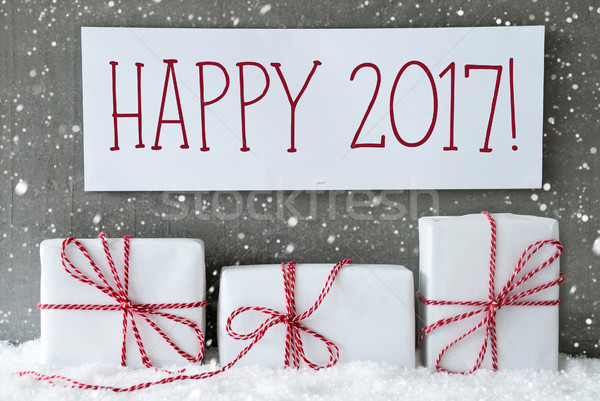 White Gift With Snowflakes, Text Happy 2017 Stock photo © Nelosa