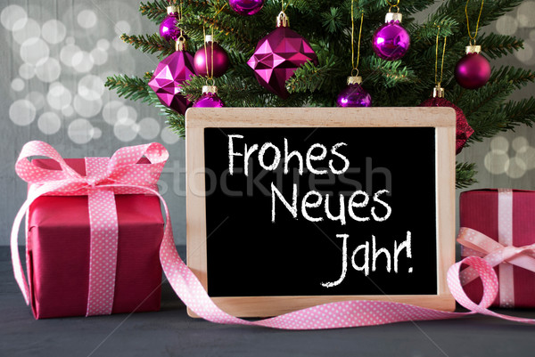 Tree With Gifts, Bokeh, Text Neues Jahr Means New Year Stock photo © Nelosa