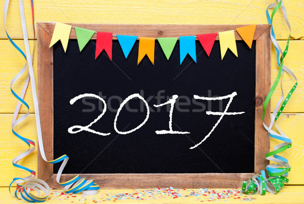 Chalkboard With Streamer, Text 2017 Stock photo © Nelosa