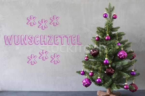 Christmas Tree, Cement Wall, Wunschzettel Means Wish List Stock photo © Nelosa